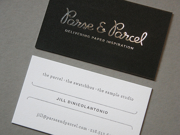 Parse & Parcel letterpress printed business card shines brilliantly.