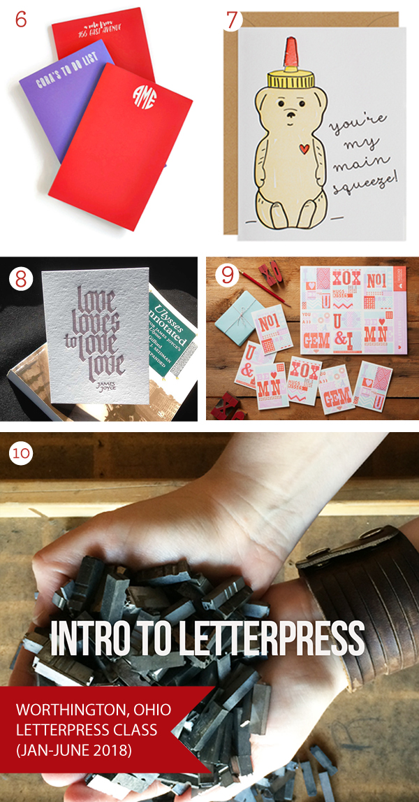 Valentine's Day Gift Guide 2018 - featuring classes, cards, and beautiful letterpress prints.