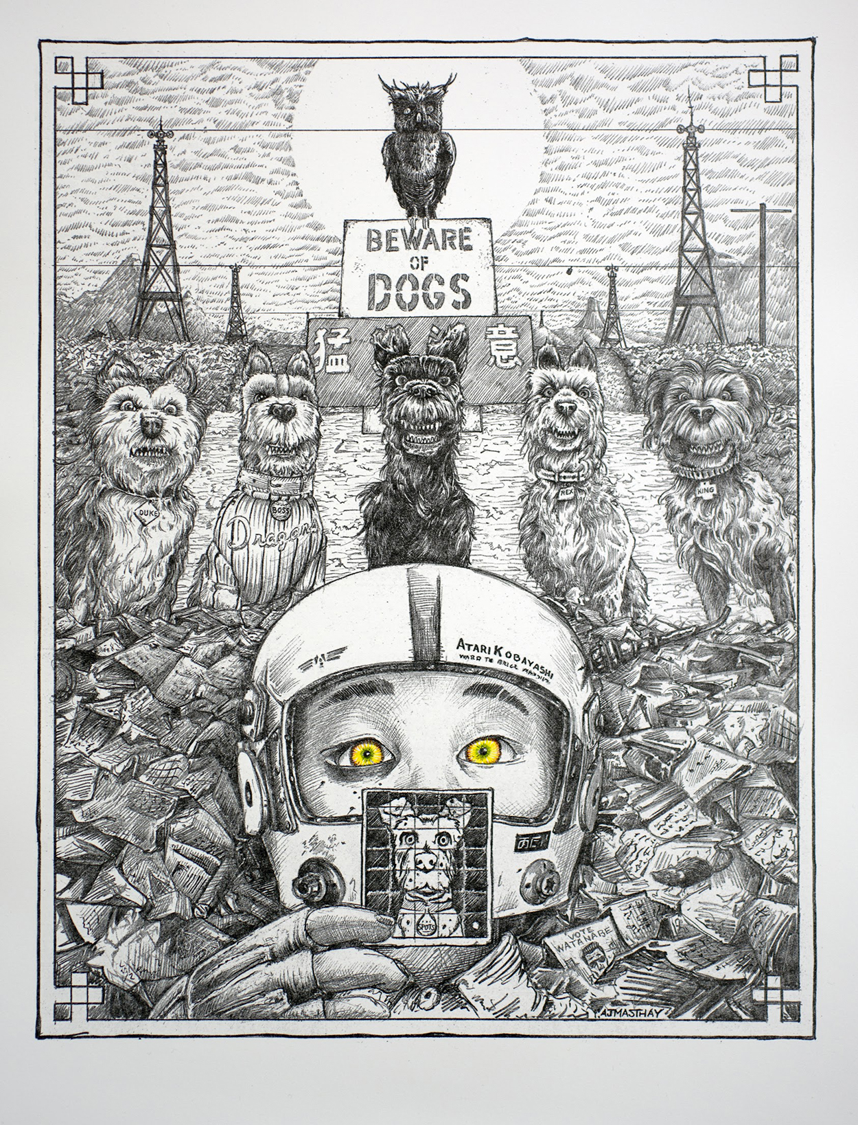 Isle of Dogs Wes Anderson AJ Masthay letterpress print