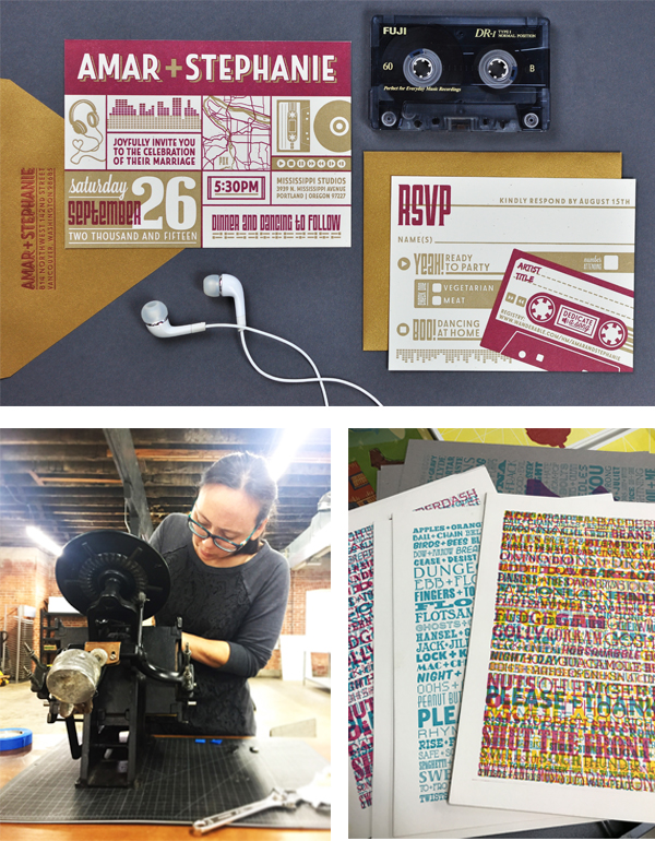 Michelle Dreher of Two Tone Press (Kansas City, Missouri) creates beautifully printed letterpress cards, invitation suites, and more.
