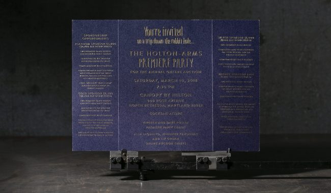 Letterpress invitations with gold matte foil from Boxcar Press