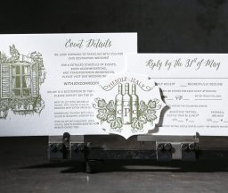 Letterpress foil Tuscan wedding invitations from Boxcar Press