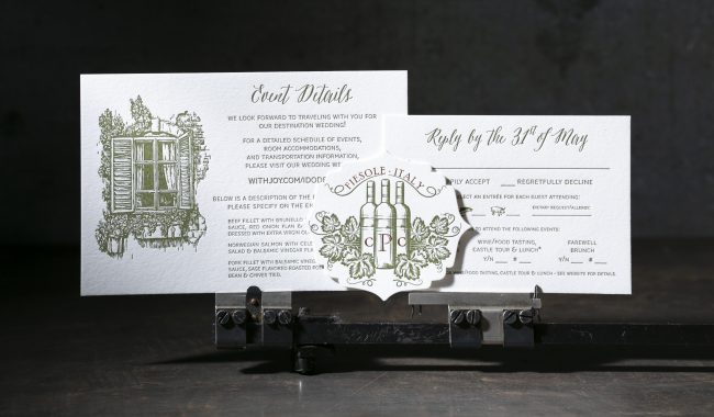 Letterpress foil Tuscan wedding invitation from Boxcar Press
