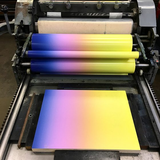 Ombre roll or rainbow roll on a Vandercook.
