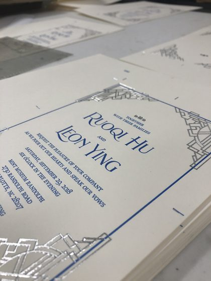 Old North State Press foil and letterpress printing wedding invitations.