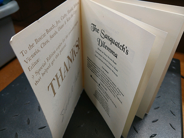 Dale Raby Sasquatch's Dilemma letterpress printed fine arts book; Let's See That Printed!